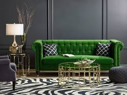 gray living room with emerald green statement sofa home decoration velvet inspirations 3