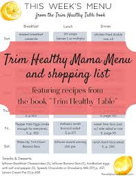 Free Printable Menu For Trim Healthy Mama Featuring Trim