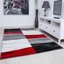 Designer Teppich Wohnzimmer Kariert Muster Meliert In Rot Grau Weiß