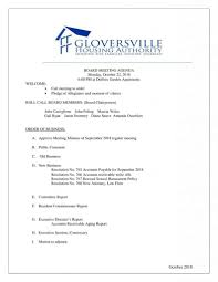 Business Agenda Gloversville Housing Authority Board Meeting Agenda October