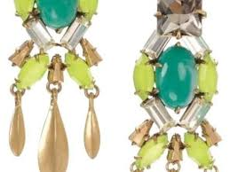 stella dot gold green black jardin chandelier earrings