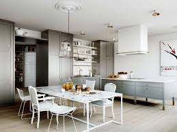 living room small eat in kitchen ideas recessed downlights white exposed brick island dining table