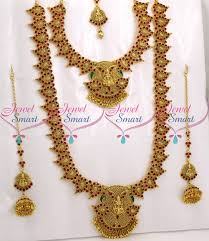Br9043 Bridal Temple Mango Jewellery Set Red Kemp Stones
