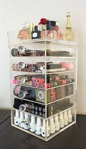 the beauty cube clear acrylic makeup organizer round crystal 6 drawer