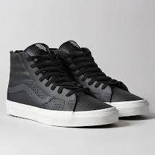 vans sk8 hi reissue zip in black leather perf black