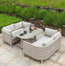 garden dining furniture rattan. rattan garden dining table \u0026 2 lounge bench style seating. ocean pearl by alexander rose furniture