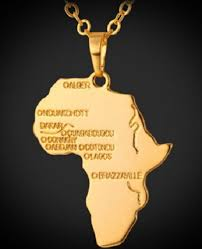 details about large gold plated africa country map necklace pendant 50cm chain african black