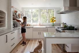 white kitchen wood floor. Beautiful Kitchen The Homeowners Chose The Natural Hickory Wood Floor Because Its Character  And Color Added A Rustic Element To Their Space They Also Wanted Durable  With White Kitchen Wood Floor P
