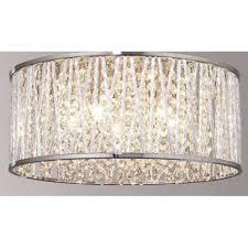 crystal drum flush ceiling light