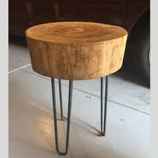 how to make a wood stump side table