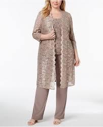 3 Pc Plus Size Sequined Lace Pantsuit Shell
