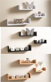 set of 3 u shape floating wall shelves