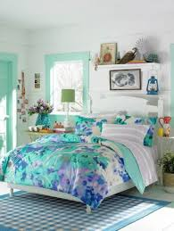 Bedroom:Pretty Teenage Girl Bedroom With Blue Flower Bed Sheet Themes Ideas  Captivating new ideas