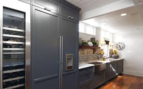 Kitchen with american fridge freezer kitchen transitional with kitchen  shelves white wood cabinet front refrigerator
