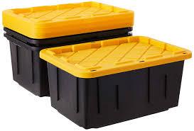 Homz Durabilt 27 Gallon Tough Container, <b>Black and Yellow</b>, Set of 2