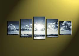 extraordinary ideas 5 piece canvas prints black and white wall sea art ocean blue multi panel