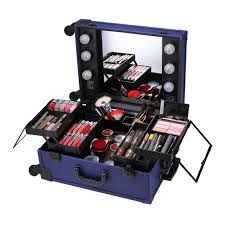 professional rolling makeup artist studio cosmetic case lights mirror beauty box trolley