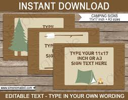 camping party signs editable printable diy templates party decorations tabloid ledger