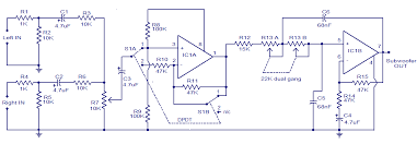 dual amplifier wiring diagram wirdig tl072 car subwoofer filter circuit audio wiring diagram