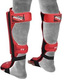 rdx sports mma cow hide leather shin guards red