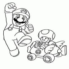 Mario Kart Coloring Pages Toad Hasshecom