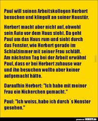 Paul Will Seinen Arbeitskollegen Herbert Besuchen Und Lustige