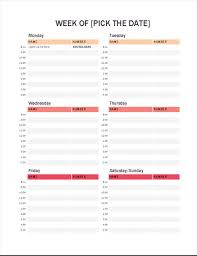 calendar templates weekly weekly appointment calendar office templates