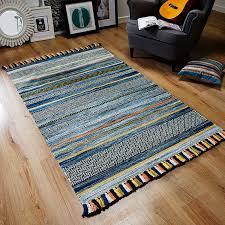 how about kelim fringe rug blue stripes
