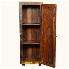 Storage Cabinet Wood Retro Rustic Reclaimed Wood 67 Tall Rolling Wheels Storage Cabinet