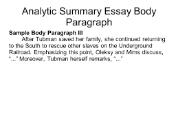 writing portfolio mr butner writing portfolio due date  analytic summary essay body paragraph sample body paragraph iii after tubman saved her family she