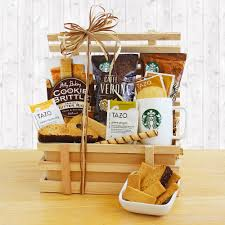 starbucks rural style coffee gift crate with treats by amerigiftbaskets
