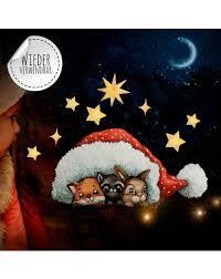 Fensterbild Weihnachtsdeko Tiere Unter Mütze Sterne