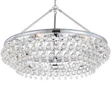 6 light polished chrome eclectic chandelier dd in clear glass drops 275 ch elite fixtures