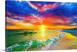 beautiful ocean sunset beach wall art