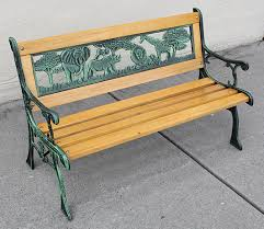 Kids Park Bench Wooden Bench Cast Iron Leg Garden Outdoor Soapp