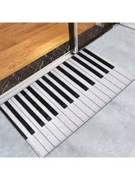 c velvet piano keyboard bathroom area rug black stripe w24 inch l35 5 inch