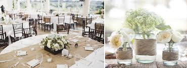 awesome round table with white cover and tan burlap table runner for wedding dining table ideas