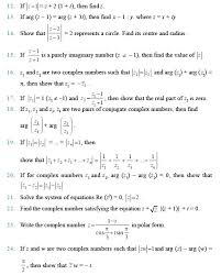 class important questions for maths complex numbers and quadratic equations grade math worksheets with answers wo