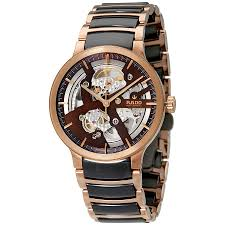 rado centrix brown skeleton dial automatic men s watch r30181312