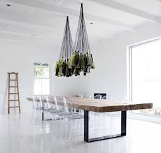 wine bottles into chandelier