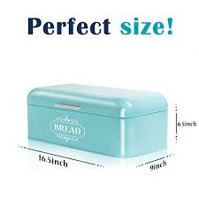 Turquoise Bread Box Cool Vintage Bread Box For Kitchen Stainless Steel Metal In Retro