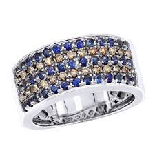 Unique Rings 10k Gold Blue Sapphire Brown Diamond Wedding Band For Men