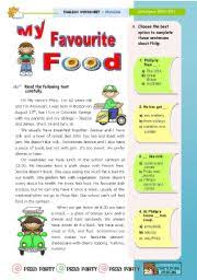 english teaching worksheets my favourite food english worksheets my favourite food reading leading to writing for upper elementary