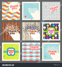 Thank you card design template set. Retro style