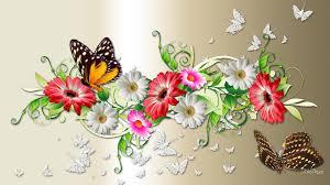 Resultado de imagen para paisaje con flores y mariposas