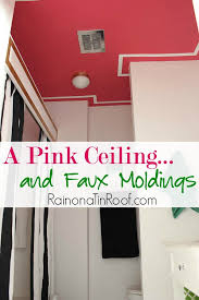 pink painted ceiling with diy faux moldings painted ceiling ideas how to paint a