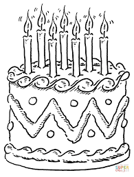Small Picture Decorated birthday cake coloring page Free Printable Coloring Pages
