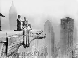 chrysler building observation deck. workmen atop gargoyle on chrysler building 1940u0027s observation deck