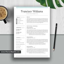 Professional Resume Template 1 3 Page Simple Cv Template Word Instant Download For 2019 2020 College Students Interns Fresh Graduates