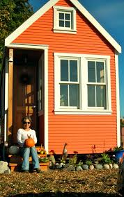 Lovely Orange Wall Front Exterior Painted Small Houses With Double Glass  Windows As Simple Facade Ideas